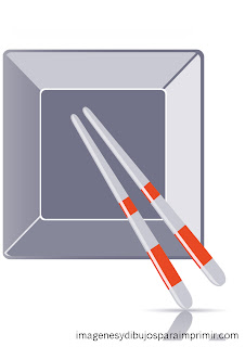 dish and chopsticks for printing