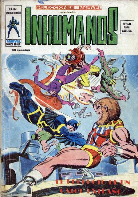 Portada de Los Inhumanos-Selecciones Marvel Volumen 1 Nº 1 Ediciones Vértice