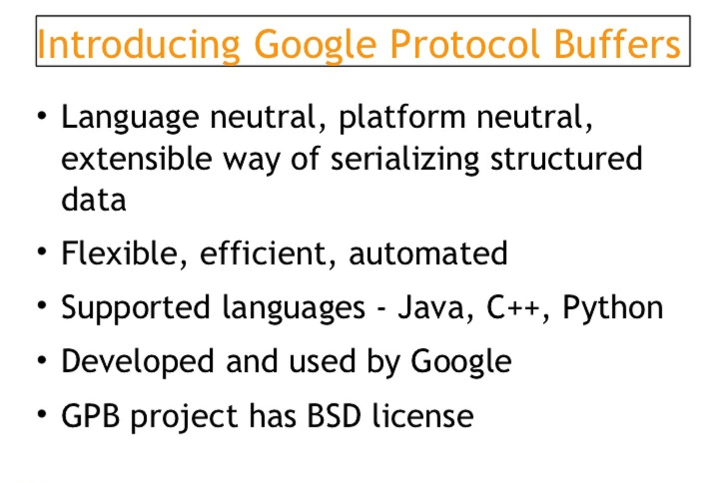 Google binary protocol buffers
