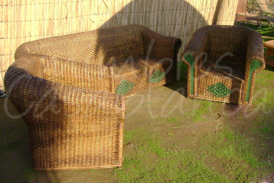 Muebles de mimbre mimbres casablanca juegos de terraza for Terrazas living