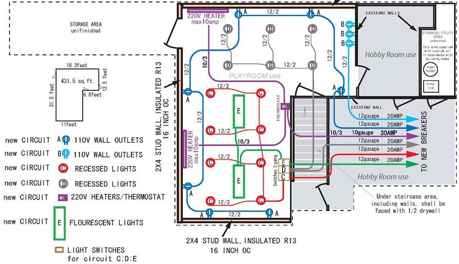 Finished Basement Electrical Layout   Electrical ...