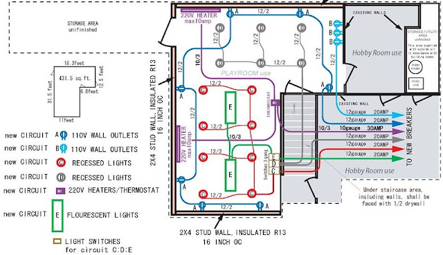 finished basement electrical layout.  electrical engineering blog, wiring diagram