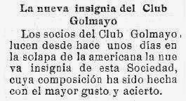 Sobre la insignia del Club golmayo, El Liberal, 6 de julio de 1928 (1)