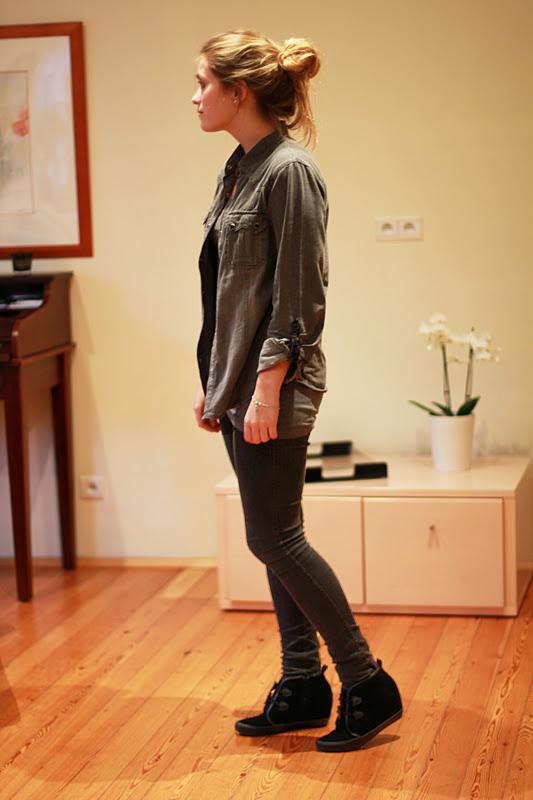 Outfit grau in grau jillepille for Jeanshemd damen lang