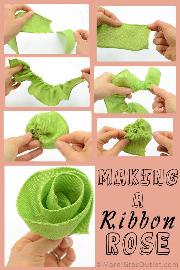 Creating Burlap Ribbon Roses | MardiGrasOutlet.com