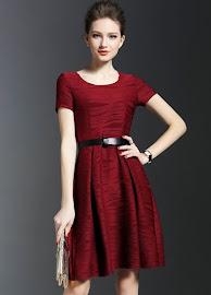 Maroon/Red Short Sleeve Wavy Flare Dress
