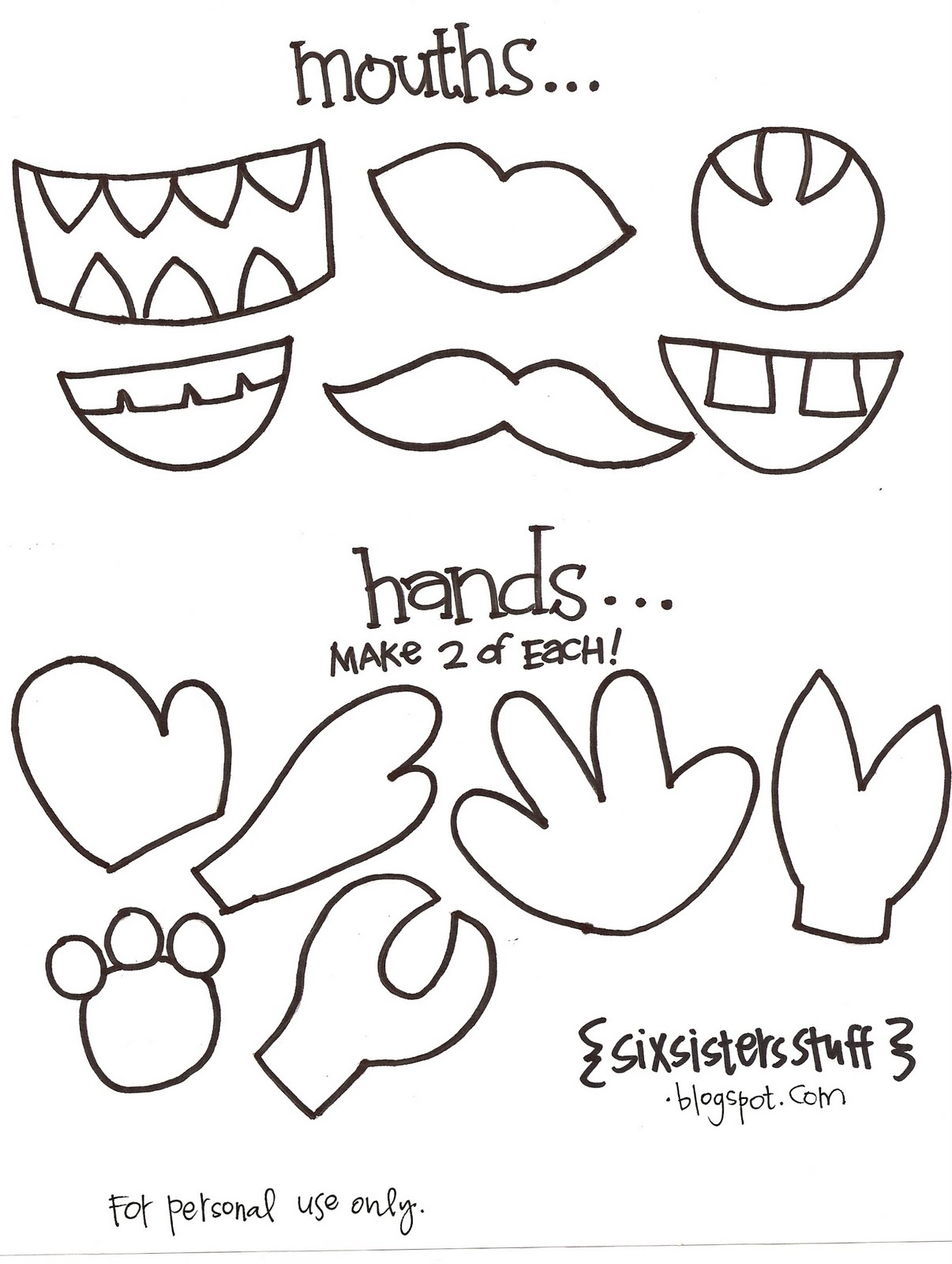 Make your own monster puppets printable pattern six for Template monstre