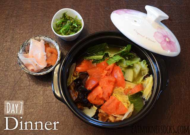 NutriClean 7-Day Detox Diet, day 7 dinner: mixed Korean vegetable stew, smoked salmon, turkey breast, and seaweed salad.