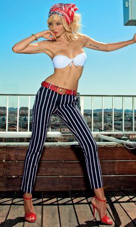 Dolores Promesas primavera verano 2013 colección Resort pantalones rayas