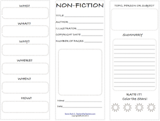 Fiction versus Nonfiction Worksheets http://teacherpark.blogspot.com/2012/03/nonfiction-student-worksheet.html