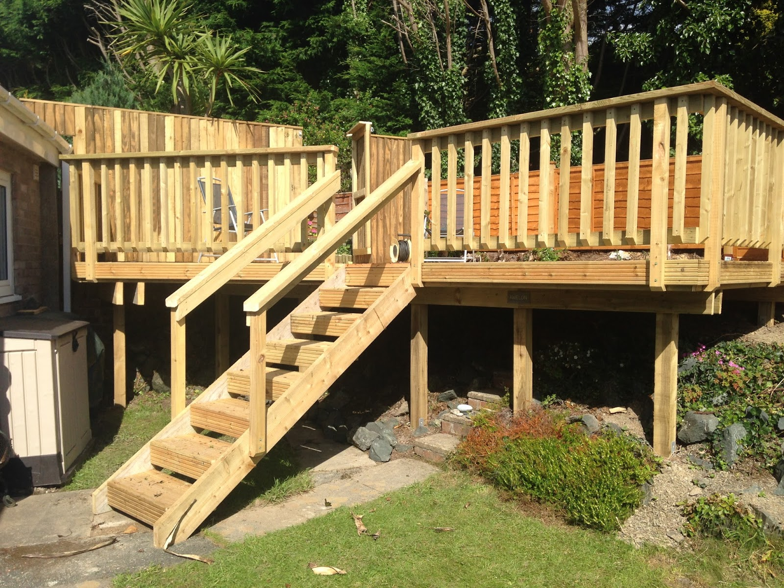 Garden carpentry timber decking design and build our for Timber deck construction