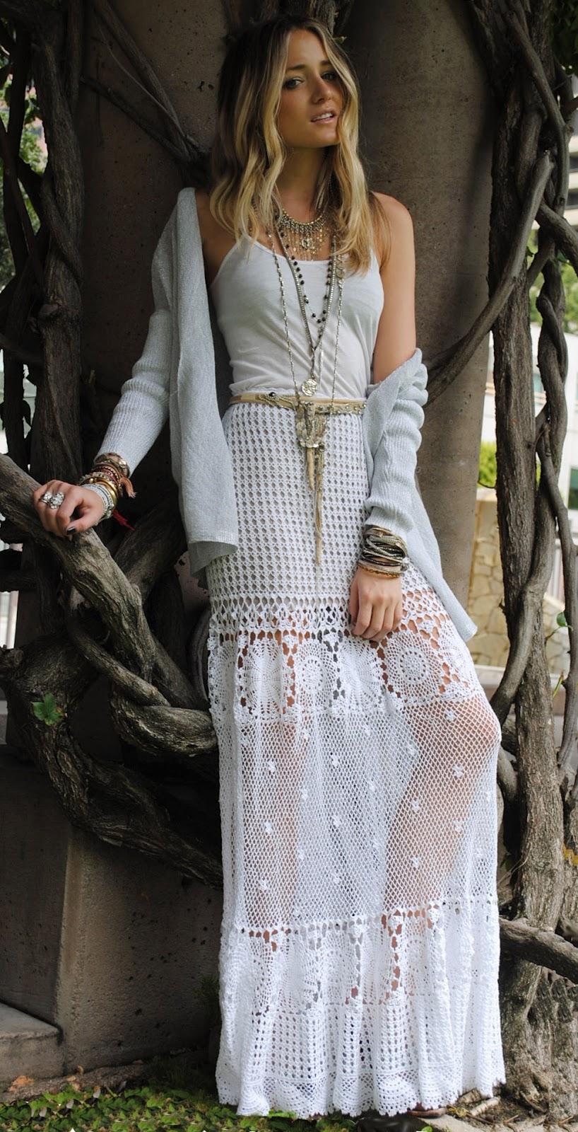 Crochetemoda blog saia longa de crochet Bohemian style fashion blogs