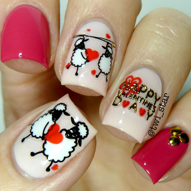 twi-star | Nail Art Blog: Valentines Day In Love sheep pink nail art ...