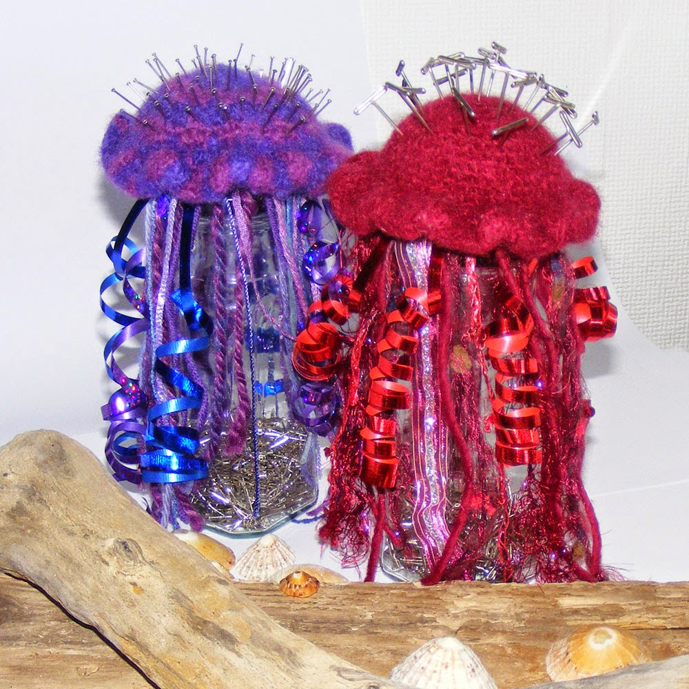 washing machine felted crochet jellyfish pin cushion
