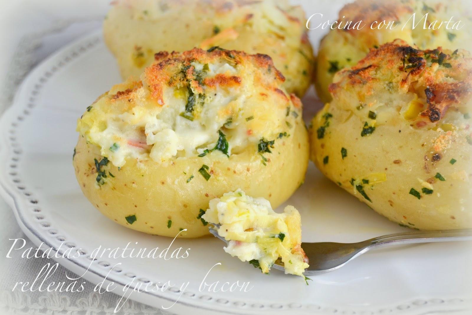 Patatas gratinadas rellenas de queso y bacon for Comidas rapidas caseras