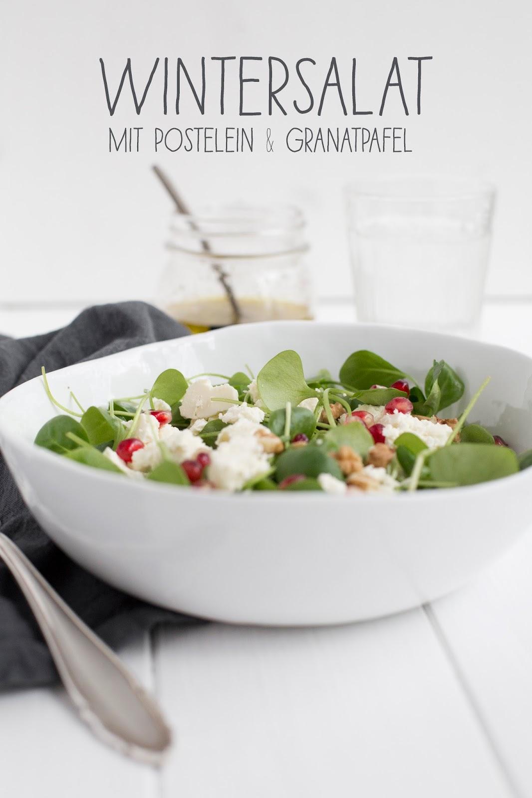 Wintersalat mit Postelein und Granatapfel