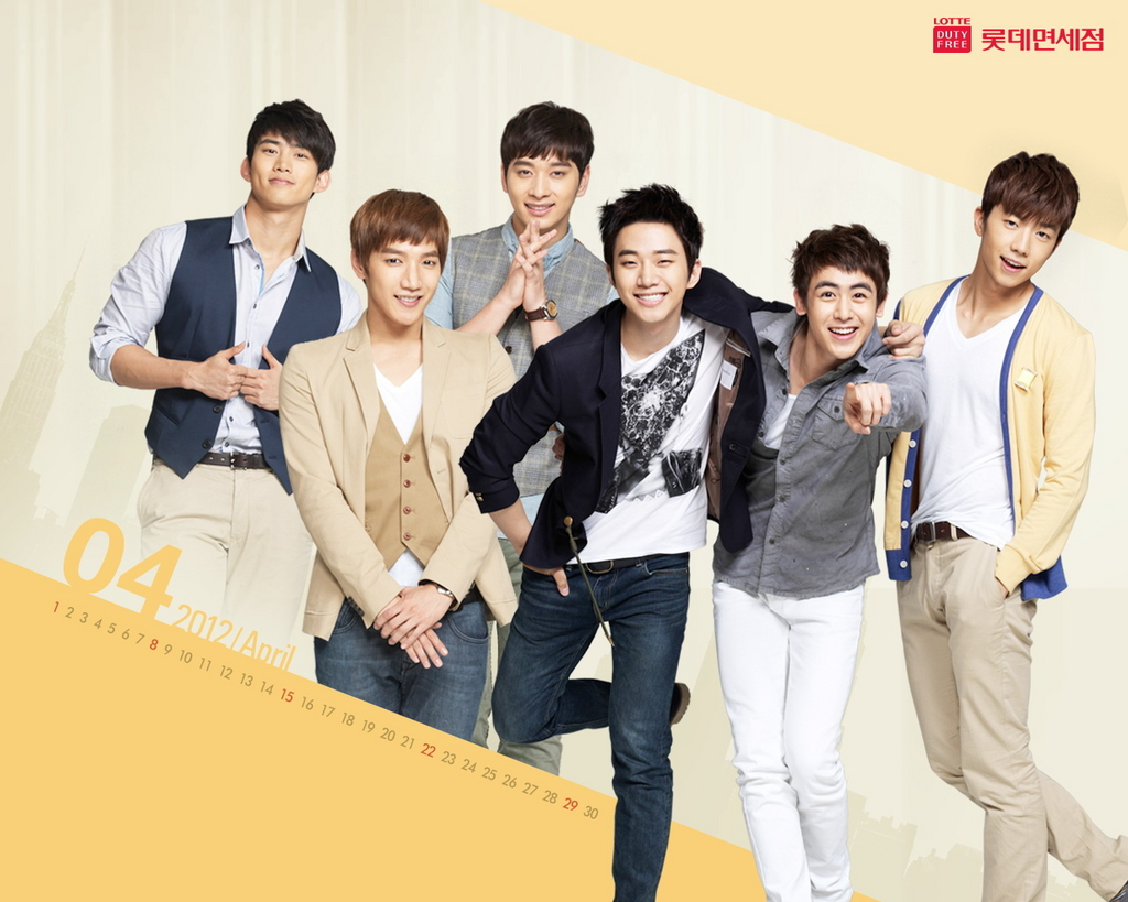 2PM World: [Poster] 2PM Lotte Duty Free Wallpaper [Calendar for 2012]
