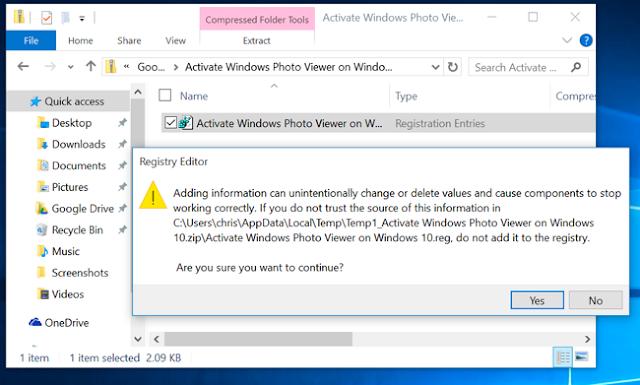 Khôi phục Windows Photo Viewer trên Windows 10