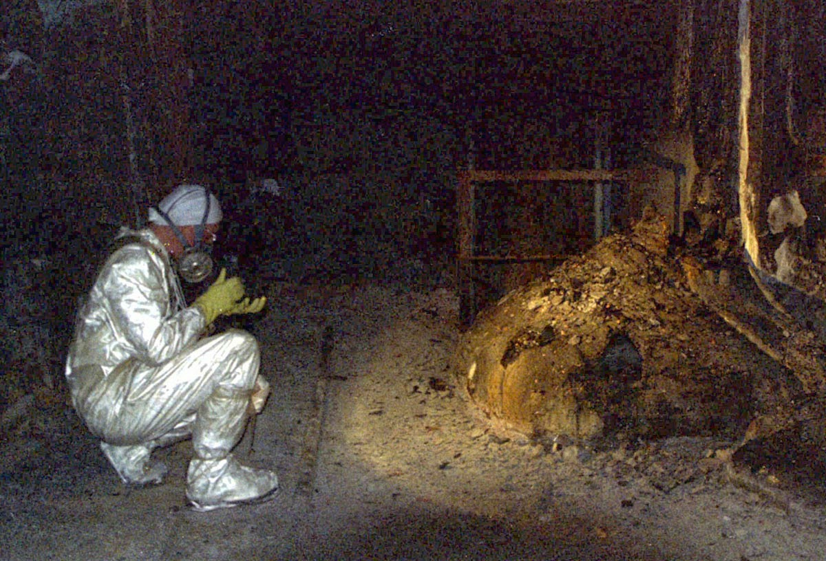 The Elephants Foot of the Chernobyl disaster. Photo was taken later after the radiation weakened.
