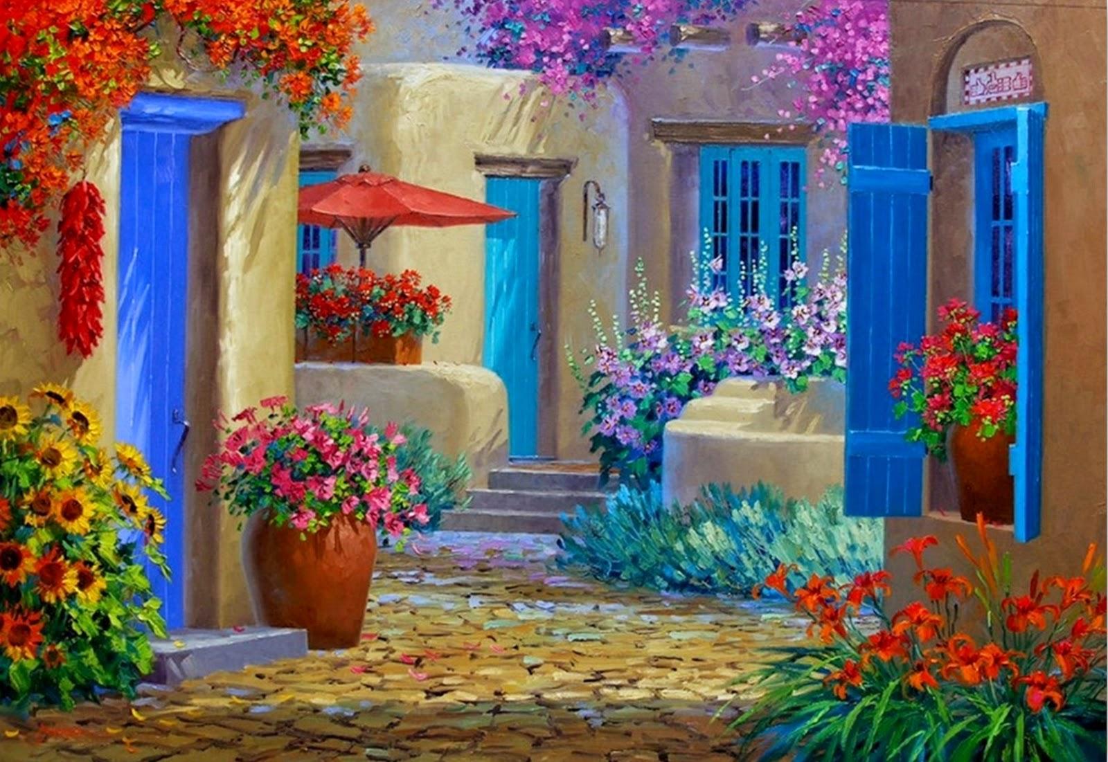 pinturas-de-flores-con-paisaje