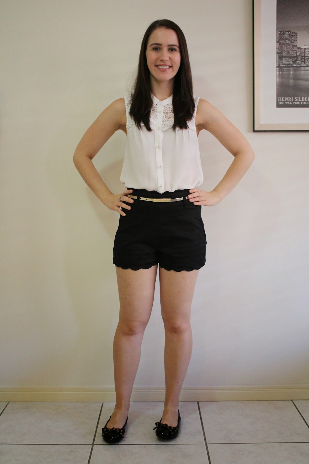 black high waisted shorts, cream and lace blouse, black ballet flats, pandora rings, everyday outfit, college outfit, university outfit, petite outfit, classic outfit