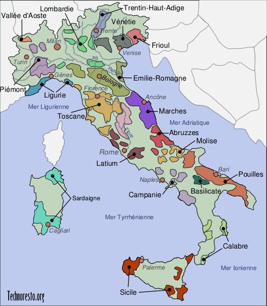 SOCIEDAD GASTRONMICA DE MRIDA VENEZUELA Mapa de Italia y sus