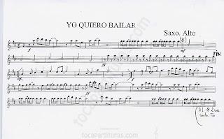 Partitura de Yo quiero Bailar toda la noche de Sonia y Selena partitura para saxofón (alto Alto saxophone Music Score)