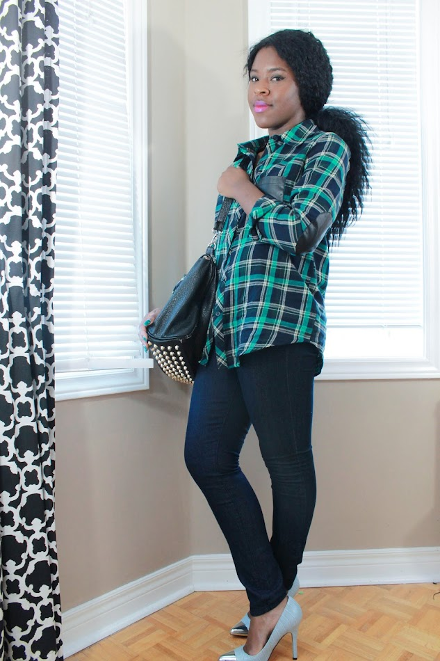 Forever 21 plaid shirt, Forever 21 jeans, Attitude by Jay Manuel, Canadian Fashion blogger, African American blogger