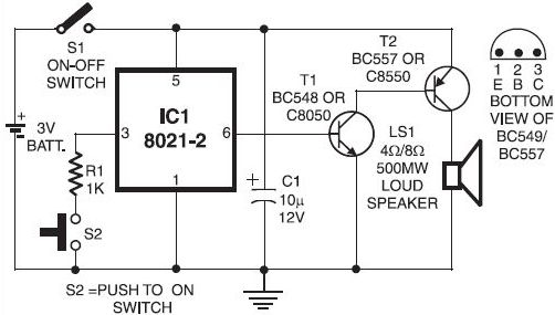 Electronics door bell circuit diagram