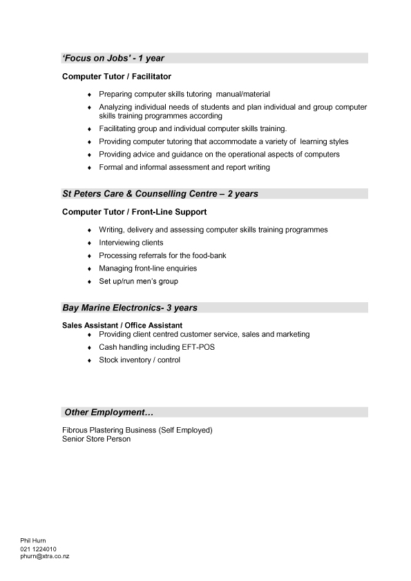 resume format  template cv new zealand