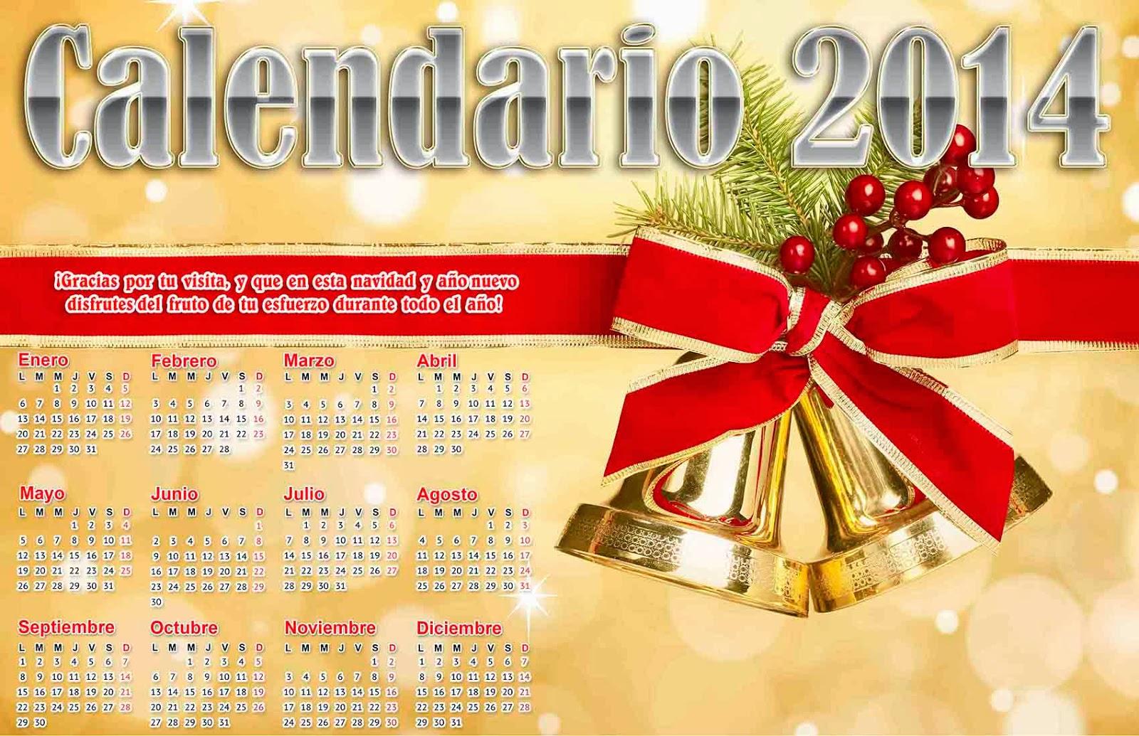 Calendario navideño 2014 - Calendarios 2019. Gratis y editables.
