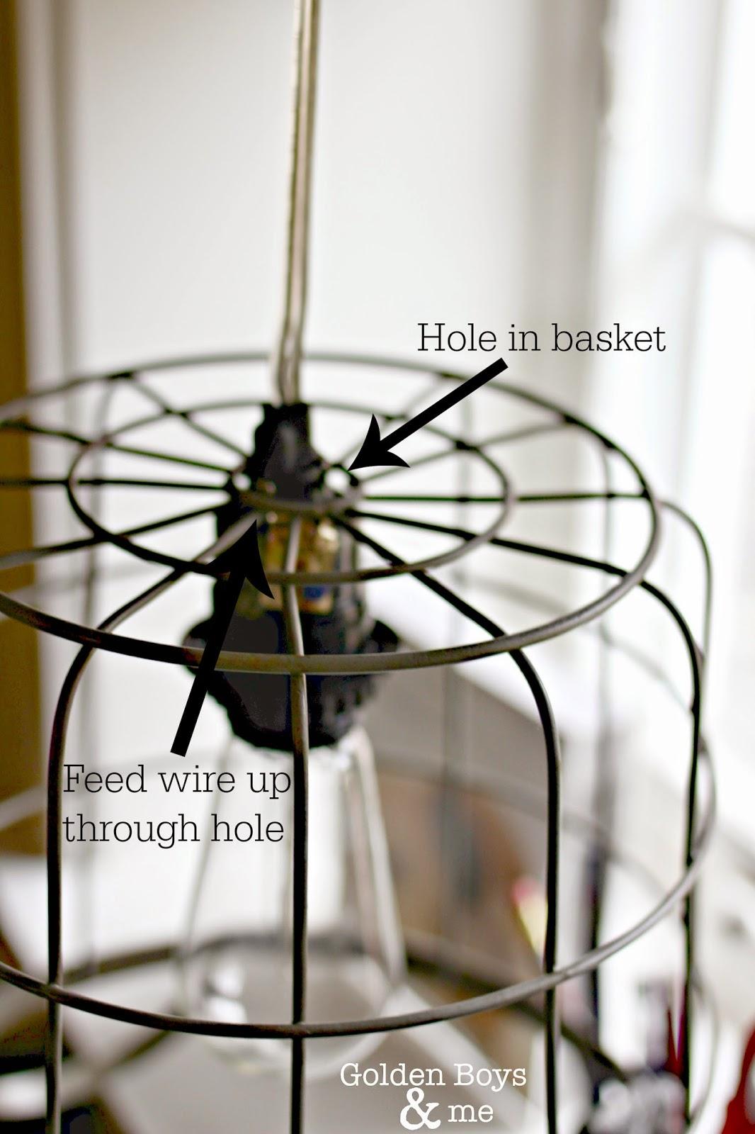 Metal basket turned into light fixture-www.goldenboysandme.com