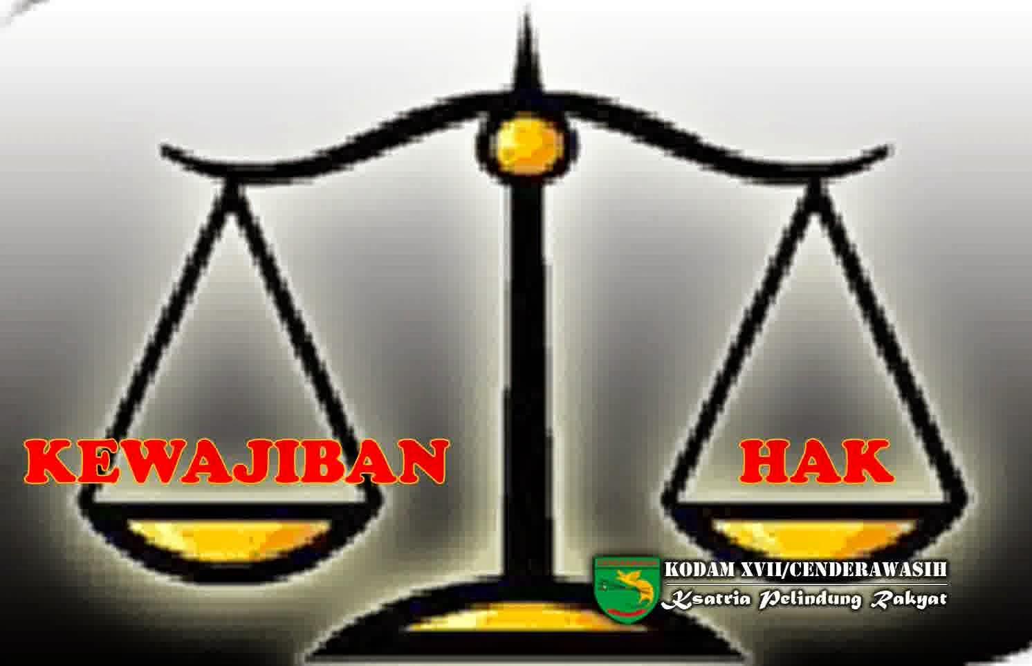Hak dan Kewajiban (http://www.kodam17cenderawasih.mil.id)