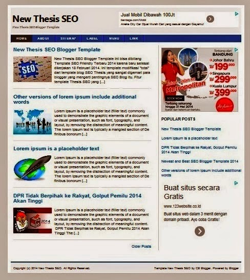 Template Blogger Seo Friendly Thesis New 2014 by andro mewo