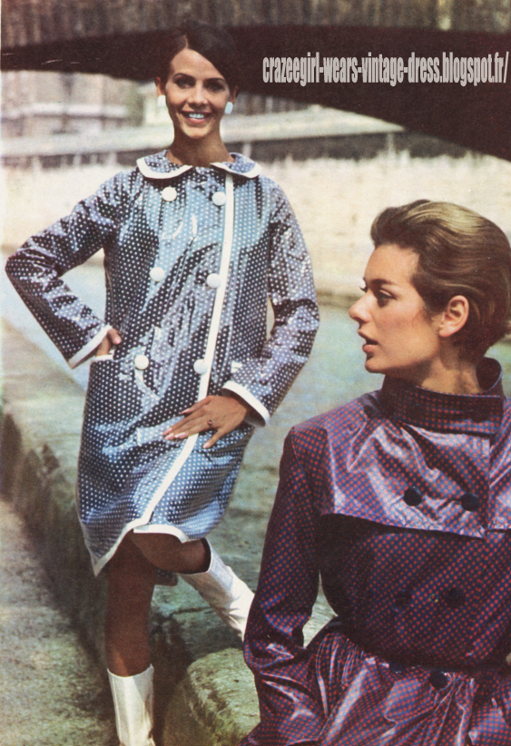 Raincoat - 1966 polka dot dotted vinyl pvc rain coat 60s 1960