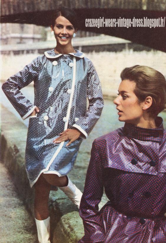 Raincoat - 1966 polka dot dotted vinyl pvc rain coat 60s 1960