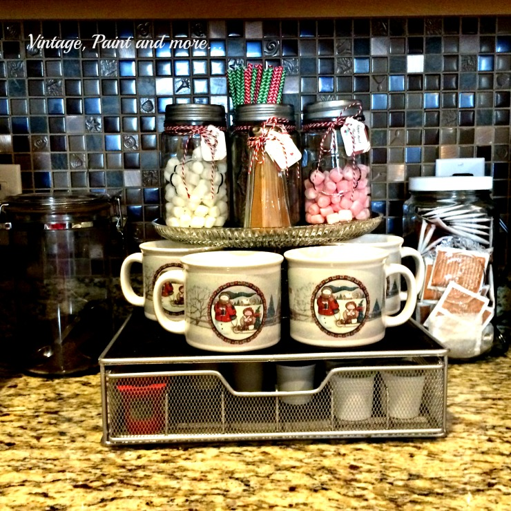 Vintage, Paint and more... cocoa bar with mason jars and diy'd tags with bakers twine