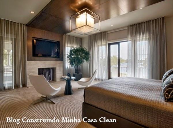 Construindo Minha Casa Clean Quartos com Lareira  ~ Quarto Rustico Contemporaneo