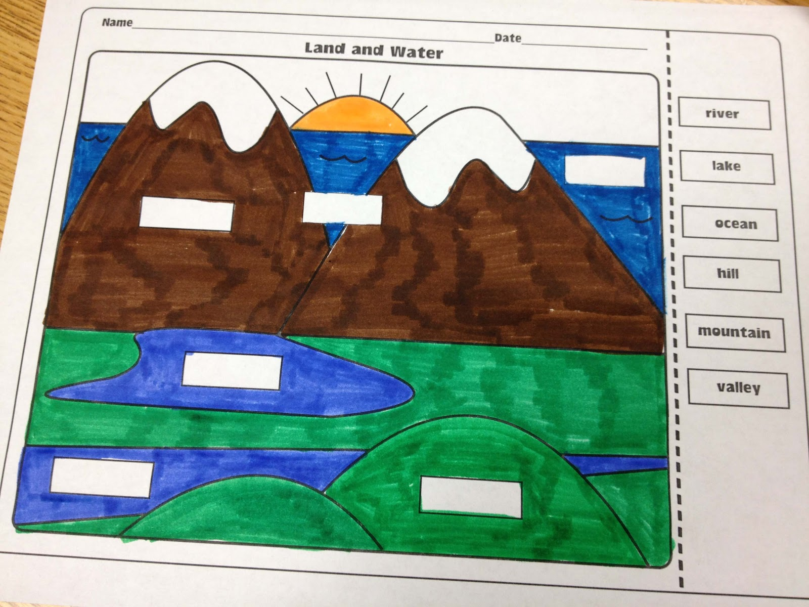 Free Worksheet Landform Worksheets landforms and bodies of water freebie the lesson plan diva this