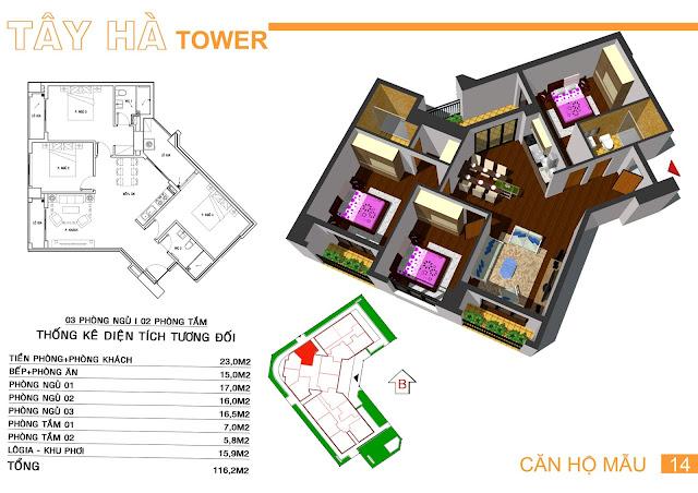 Căn số 14 chung cư Tây Hà Tower