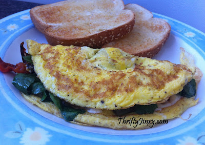 Greek Omelet Recipe with Spinach, Peppers and Feta