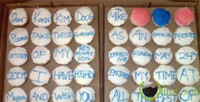 Surat pengunduran diri dalam bentuk cupcake