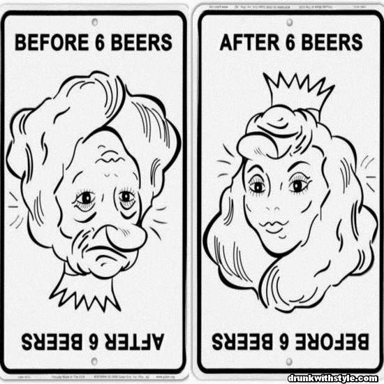 Before And After Six Beers Funny Ugly Lady