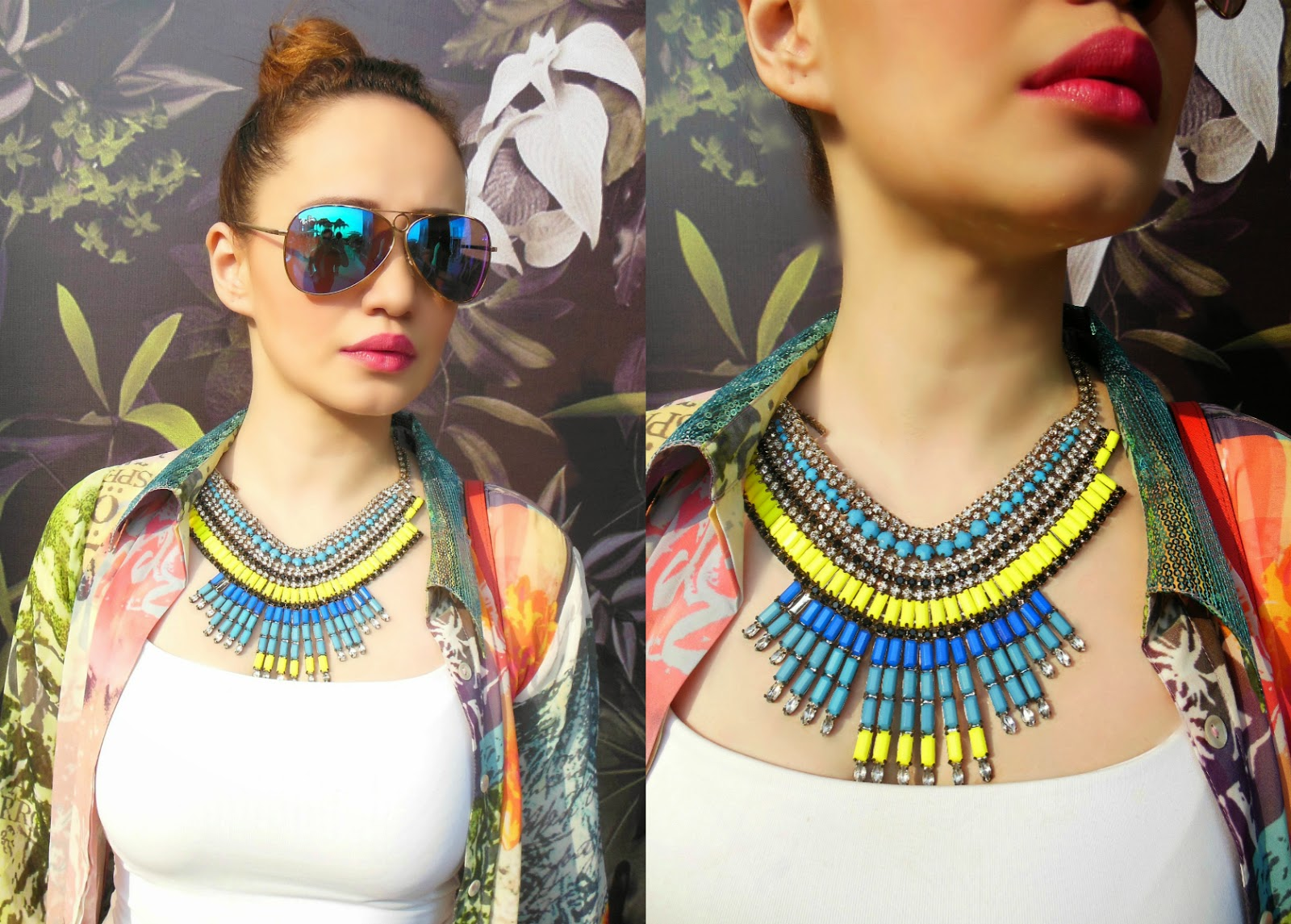 Ray-ban blue mirrored sunglasses, Blue & yellow statement necklace