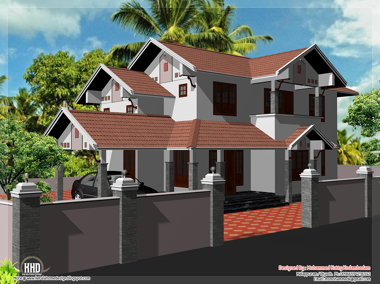 2000 house elevation design kerala home for Home designs 2000 sq ft