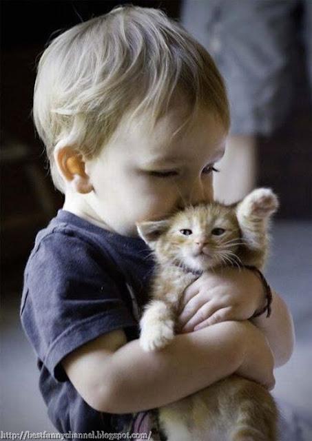Baby and kitten.