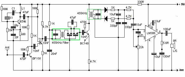 electronica diagramas circuitos  circuito receptor de vhf fm con cristal