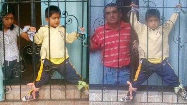 Castigan a su hijo atándolo a la ventana