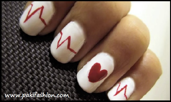 Red White and Black Nail Design