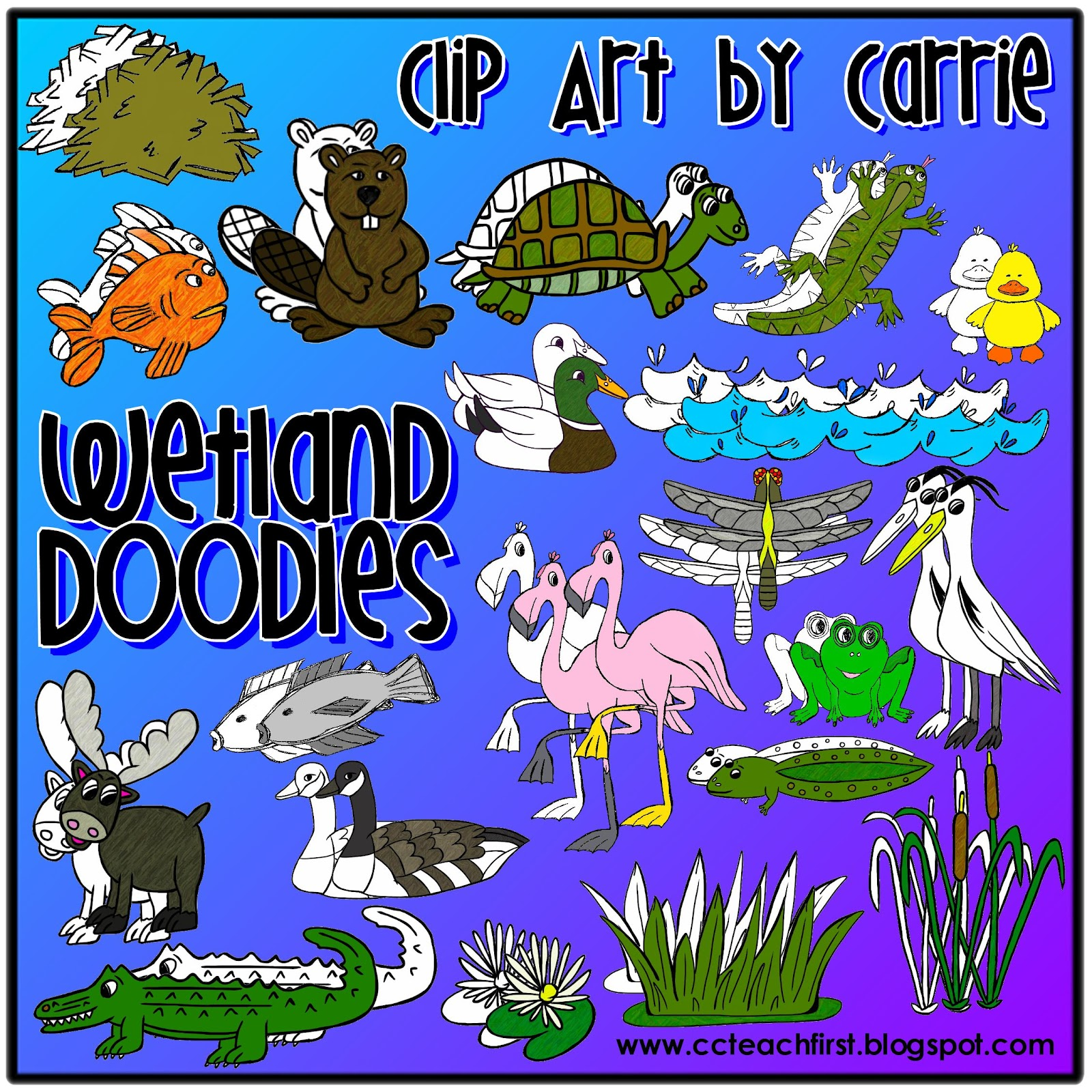 Clip Art by Carrie Teaching First: Wetlands Habitat Doodles ...
